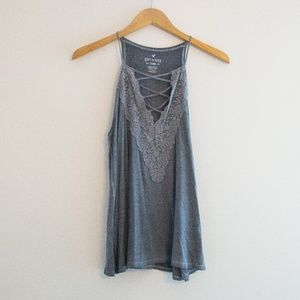 AEO Gray Strappy Tank with Lace and Criss Cross